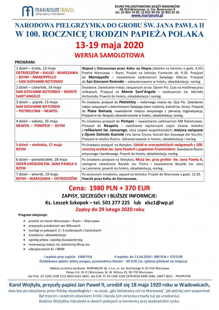 PIELGRZYMKA-NA-100-URODZINY-JPII-Program-13-19-maja-2020